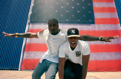 Jay-z and Kanye West The Throne.  Image from Otis video