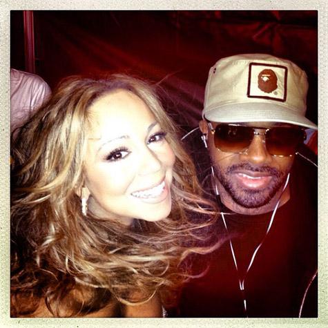 Mariah Carey with Jermaine Dupri at NFL Kickoff